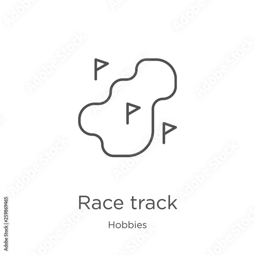 race track icon vector from hobbies collection  Thin line
