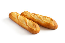 Two Baguettes On White