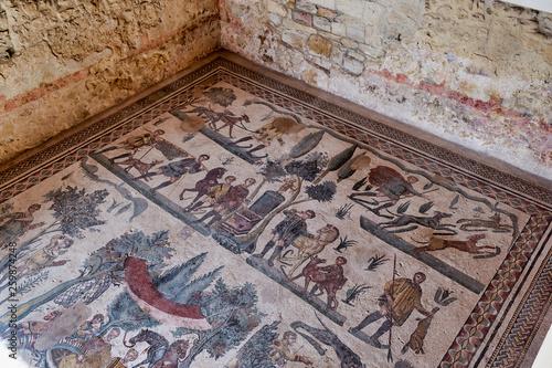 Fotobehang Oude gebouw Mosaics at Villa Romana del Casale (Roman Villa) in Piazza Armerina Sicily Italy