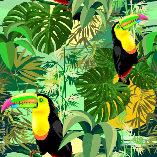 Spoed Foto op Canvas Draw Toucan in Green Amazonia Rainforest Seamless Pattern Vector Design