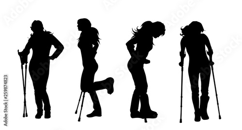 Fotografia Vector silhouette of woman who walking with crutches on white background