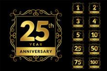 Vintage Luxury Anniversary Golden Logotype Emblem Set