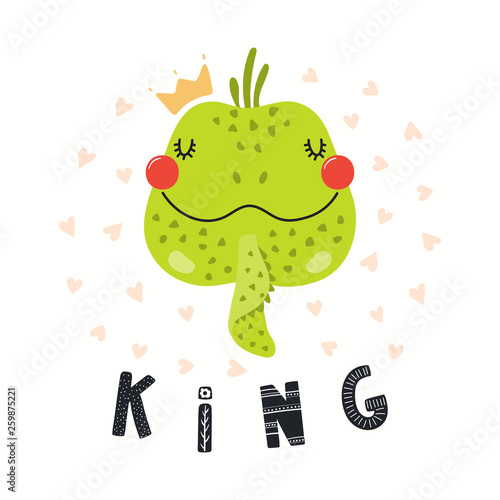 Hand drawn vector illustration of a cute funny iguana in a crown, with lettering quote King. Isolated objects on white background. Scandinavian style flat design. Concept for children print.