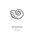 shellfish icon vector from dinosaur collection. Thin line shellfish outline icon vector illustration. Outline, thin line shellfish icon for website design and mobile, app development