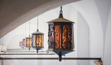 Aged Lamps With Metal And Glass In Medieval Castle