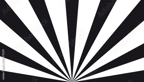 Obraz na plátne Black And White Sunburst Background - Vector Illustration