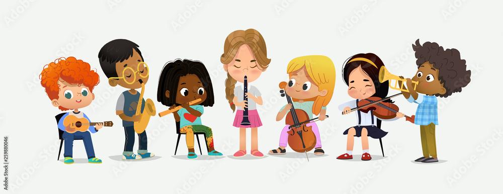 Fototapeta School Orchestra Kids Play Various Music Instrument