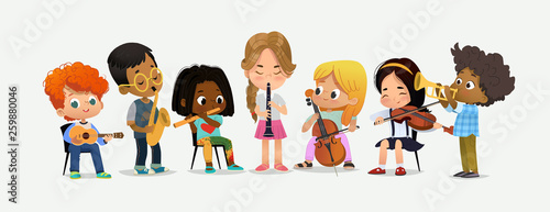 Stampa su Tela School Orchestra Kids Play Various Music Instrument