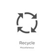 recycle icon vector from miscellaneous collection. Thin line recycle outline icon vector illustration. Outline, thin line recycle icon for website design and mobile, app development