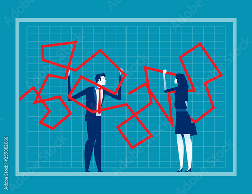 business people trying to change line graph  concept business vector  illustration,failure, problem