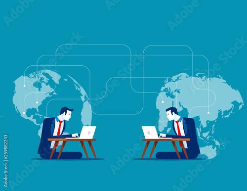 Obraz Intercontinental communications. Concept business vector illustration, Talking, Network, Online dating. - fototapety do salonu