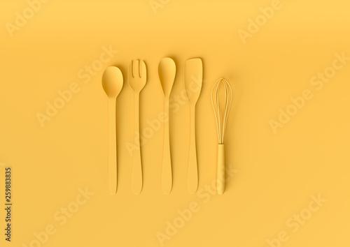 Valokuva  Kitchen utensils set with pastel yellow color