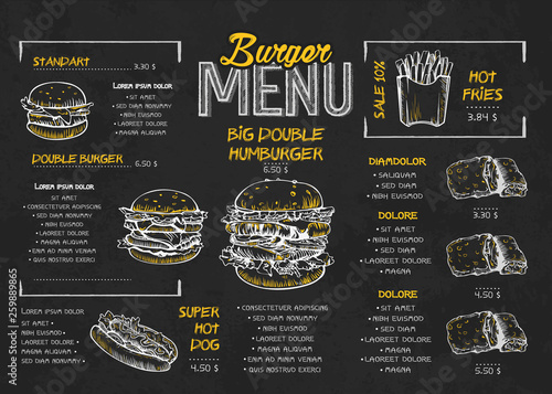 Valokuva  Burger menu poster design on the chalkboard elements