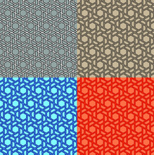 Set Of Vector Seamless Background. Modern Stylish Texture Of Triangles And Polygons. Repetition Of The Geometric Grid. Simple Graphic Design. Fashionable Hipster Sacred Geometry.