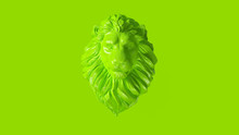 Green Adult Male Lion Bust Scu...