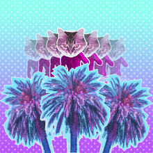 Contemporary Art Collage Of Pink Neon Sculpture With Cat Head And Palm Trees. Vaporwave Style. Gradient Background With Dots