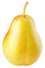 One Red Yellow Pear Fruits Iso...
