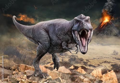 Tyrannosaurus rex scene 3D illustration Wallpaper Mural