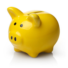 Yellow Piggy Bank, Isolated On White Background