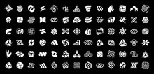 Abstract Logos Collection. Geometrical Abstract Logos. Isolated On Black Background
