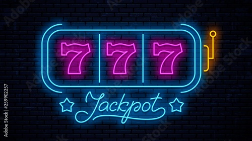 Papel de parede  Neon gaming slot machine 777
