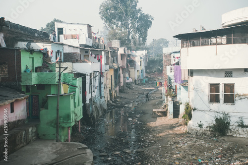 A stinking sewage flow in the slums Fototapet