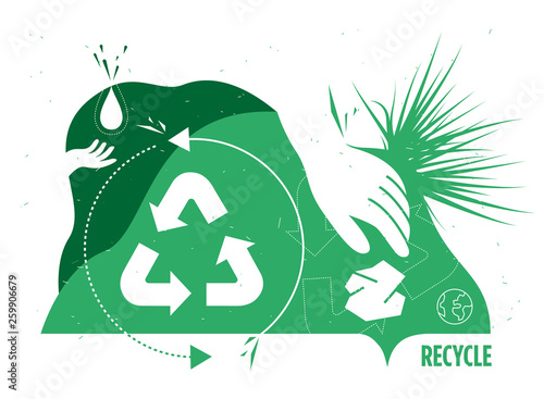 Fototapeta Modern recycle illustration