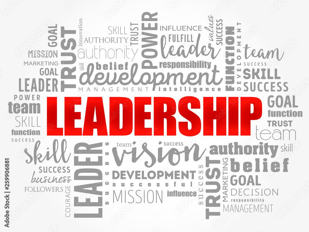 Fototapeta LEADERSHIP word cloud collage, business concept background