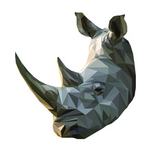Low Poly Illustration Of An African Rhino; Part Of The African Big Five