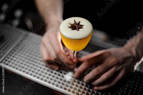 Bartender seving a cocktail with the white foam in the glass decorated with the Wallpaper Mural