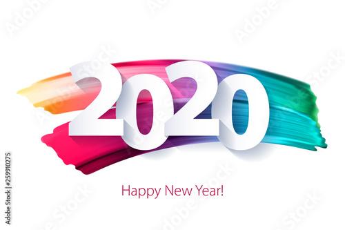 Fototapeta 2020 Happy New Year background. Seasonal greeting card template. obraz