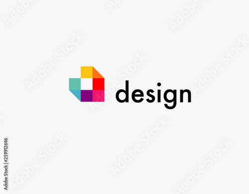 Cuadros en Lienzo  Abstract logo multicolored squares for company design