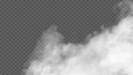 Transparent special effect stands out with fog or smoke. White cloud vector, fog or smog