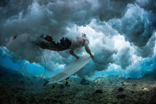 Man Surfer Does Duck Dive With...