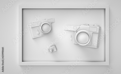 Clean White 3d Render Camera In Frames Easy Lifestyle Traval Vacation Composition Trendy Abstract Illustration Stylish Hipster Backdrop Buy This Stock Illustration And Explore Similar Illustrations At Adobe Stock Adobe Stock
