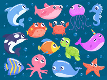 Cute Cartoon Sea Animals Vecto...