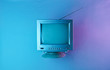 canvas print picture Retro wave, 80s. Old tv with antenna in holographic light. Top view, minimalism