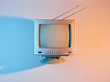 canvas print picture Retro wave, 80s. Old tv with antenna with neon light. Top view, minimalism