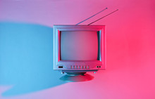 Retro Wave, 80s. Old Tv With A...