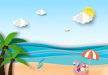 Fototapeta na wymiar Summer beach palm trees on the beach with blue sky.Paper art style.