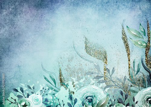 Plakaty niebieskie  watercolor-floral-background-blue-and-gold