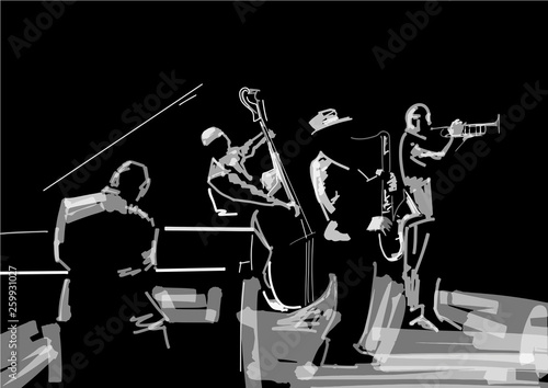 In de dag Muziekband Jazz band. Black and white musical illustration. Trombonist, saxophone player, pianist, contrabass player. Musical instruments: trombone, sax, grand piano, bass. Performance on stage.