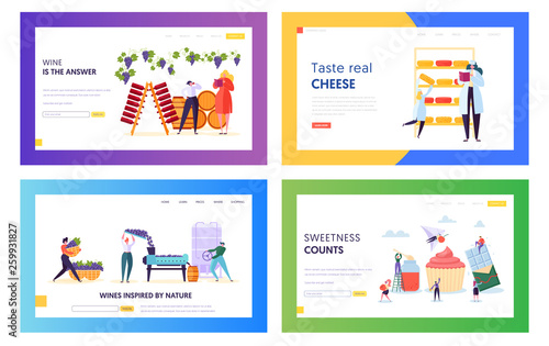 Fotografie, Obraz  Set of Delicious Food and Drink Producing Landing Page Templates