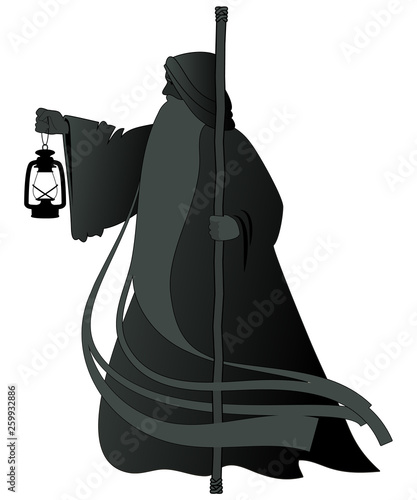Silhouette of old man with a long beard, wearing a long hooded robe, leaning on a staff and illuminating his path with an old lamp Canvas Print