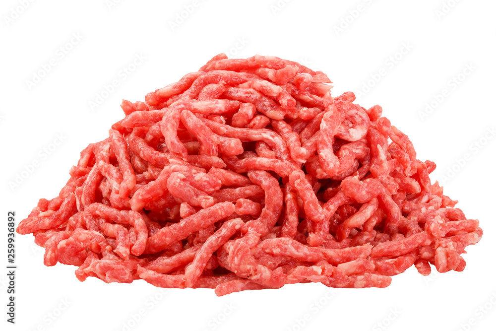 Fototapeta minced meat, pork, beef, forcemeat, clipping path, isolated on white background, full depth of field