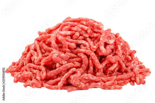 minced meat, pork, beef, forcemeat, clipping path, isolated on white background, full depth of field - 259936892