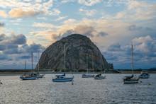 Scenic View Of Morro Rock And Boats In Morro Bay California