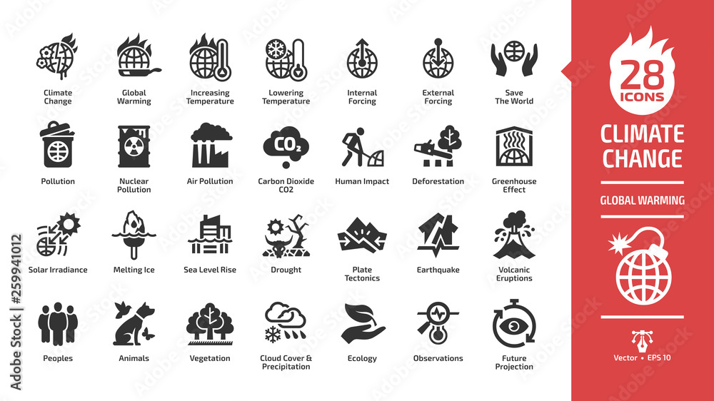 Fototapeta Climate change or global warming glyph icon set with world heat temperature, globe greenhouse effect, air pollution, earth co2 smoke problem, hot sun fire energy and environment save symbols.