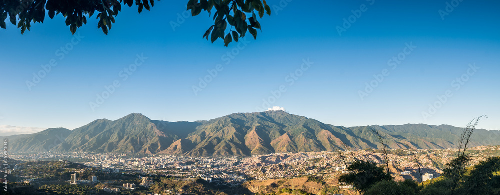 Fototapety, obrazy: Panoramic aerial view of Caracas during a sunset