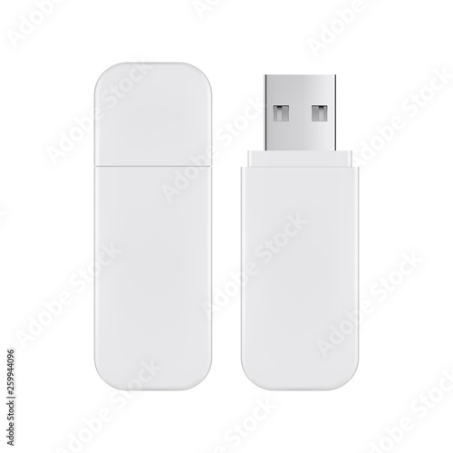 Obraz USB flash drive mockup isolated on white background. Vector illustration - fototapety do salonu